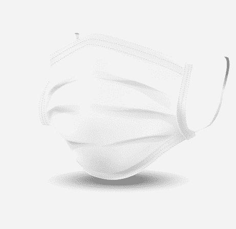 biała maseczka medyczna z gumkami i drucikiem