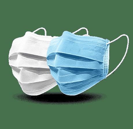 maseczki medyczne chirurgiczne białe i niebieskie